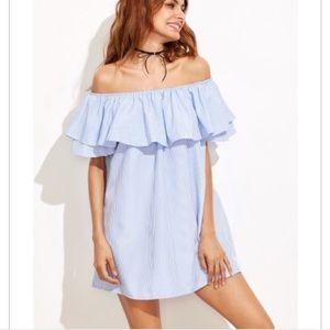 Off Shoulder Zara Striped Ruffle Dress